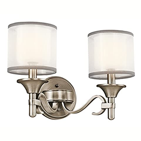 45282AP Lacey 2LT Vanity Fixture, Antique Pewter Finish with White Organza Fabric / Etched Opal Glass - Etched Opal Glass Shade