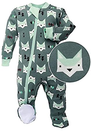 ZippyJamz Organic Baby Footed Sleeper Pajamas Inseam Zipper Quicker Easier Diaper Changes Quiet Fox green (3-6 Months)