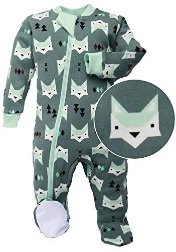 ZippyJamz Organic Baby Footed PJs w/Inseam Zipper ~ Quiet Fox Green (9-12 Mos)