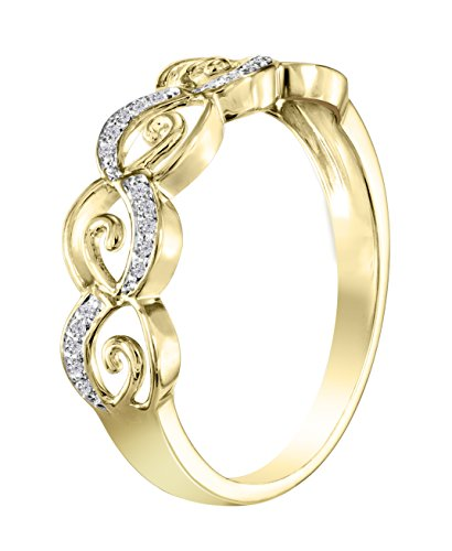 Buy Jewels 10k Gold Natural Diamond Ring (0.06 cttw, Color G-H, Clarity I1-I2) (Yellow-Gold, 6.5)