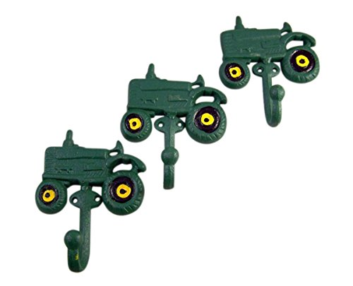 (Rural Green Tractor Cast Iron Wall Hook 4 Inch (Set of 3))