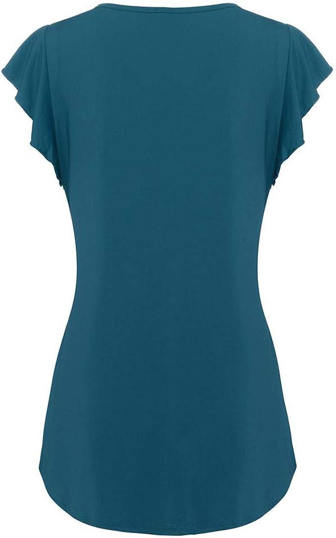 Camiseta Basica Mujer Camiseta con Cuello Redondo Manga Corta Blusa Tops de Verano para Mujer TúNica Fluida SóLido Casual Loose Camisetas BáSicas Tank Tops BuyO: Amazon.es: Ropa y accesorios