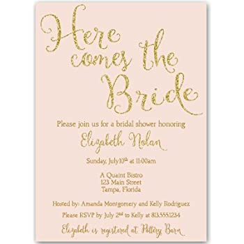 Amazoncom Bridal Shower Invitations Here Comes The Bride