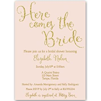 bridal shower invitations here comes the bride wedding shower invites pink gold