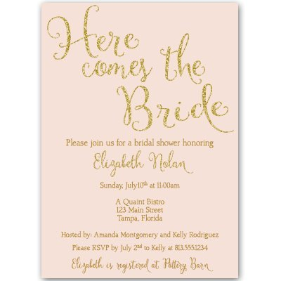 - Bridal Shower Invitations, Here Comes The Bride, Wedding Shower Invites, Pink, Gold, Blush, Personalized, Customized, Pink and Gold, Rose, Set of 10 Printed Invites with Envelopes