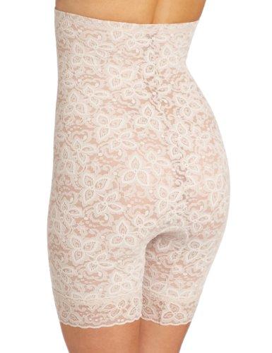 Bali Women's Shapewear Lace 'N Smooth Hi-Waist Thigh Slimmer, Rosewood, X-Large