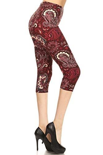 R795-CA-PLUS Scarlet Paisley Capri Print Leggings