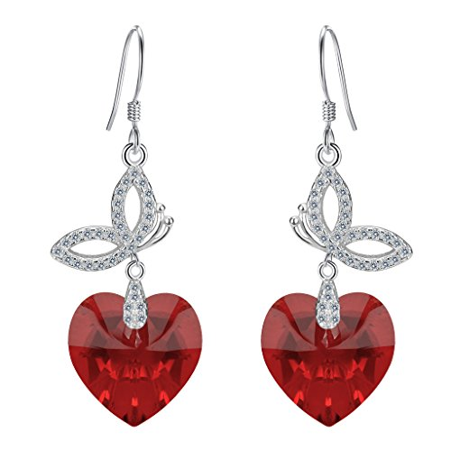 EleQueen 925 Sterling Silver CZ Love Heart Butterfly French Hook Dangle Earrings Siam Color Made with Swarovski (Swirl French Hook Earrings)