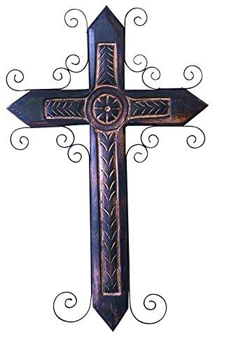 24 x 15 Deco 79 Wood Metal Cross 24 H,15 W-26533
