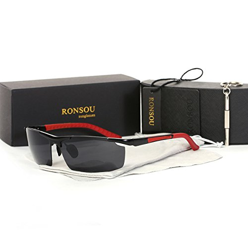 Ronsou Men Sport Aluminium-Magnesium Polarized Sunglasses For Driving Cycling Fishing Golf red - Target Hours Chicago