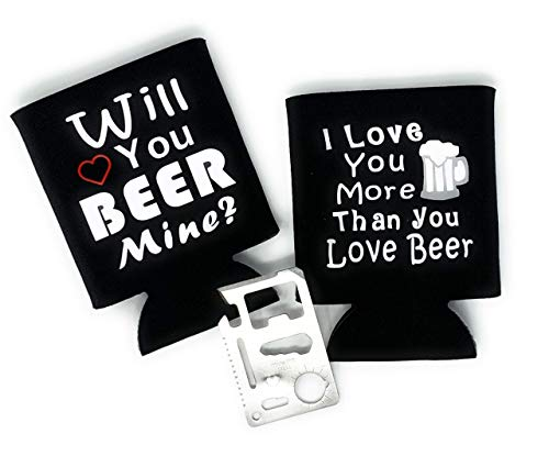 Funny Anniversary Birthday Day Gift for Him Men Boyfriend Husband Idea - Beer Can Holder Set