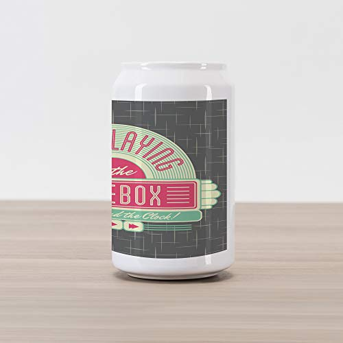 Ambesonne Jukebox Cola Can Shape Piggy Bank, Charcoal Grey Backdrop with 50s Inspired Radio Music Box Image, Ceramic Cola Shaped Coin Box Money Bank for Cash Saving, Mint Green Hot Pink and White