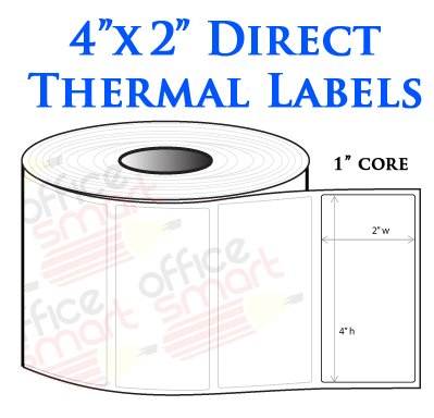 4x2 Direct Thermal Labels for Zebra GC420d GC420t GK420d GK420t GX420d GX420t LP2844 LP2442 TLP2844 ZP450 Barcode Printer - 20 Rolls