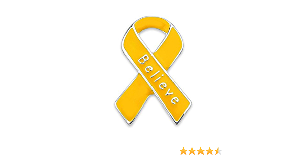 Fight Believe Hope Gold Ribbon 2.25 Pinback or Magnetic Button Childhood Cancer Awareness