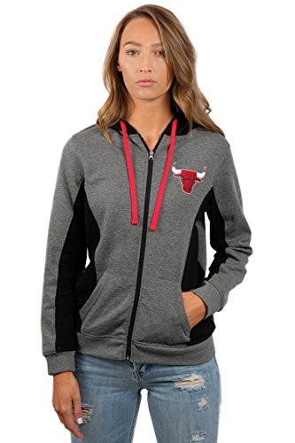 fan products of NBA Women's Chicago Bulls Full Zip Hoodie Sweatshirt Jacket Dime, X-Large, Gray