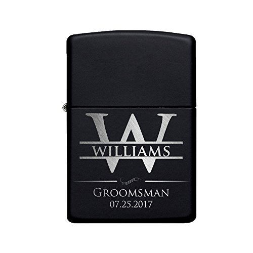 Personalized Lighter, Groomsmen Gifts - Gift Idea for Wedding Favor Customized Lighter Set w Black Tin, Matte Black #5
