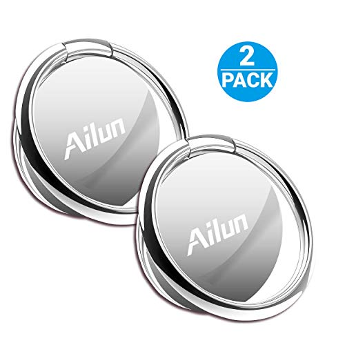 Ailun Phone Ring Stand Holder[2 Pack] Compatible iPhone X/8/7/6/6s Plus,Galaxy S9/S9+,s8/s8+ S7/S7 Edge,S6/S6 Edge+ Note 8 More[Silver] Universal 360° Rotation Cellphone Finger Ring Kickstand Grip