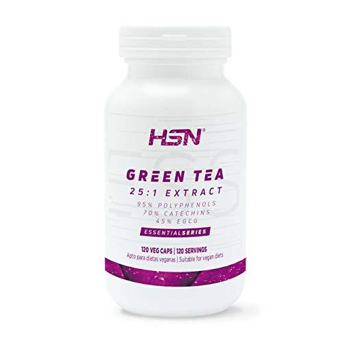 Te Verde de HSN | Green Tea 500mg | Para perder peso, Quemagrasas Natural, Potente Termogenico y Diuretico, Antioxidante | Vegano, Sin Gluten, Sin Lactosa, 120 Capsulas Vegetales