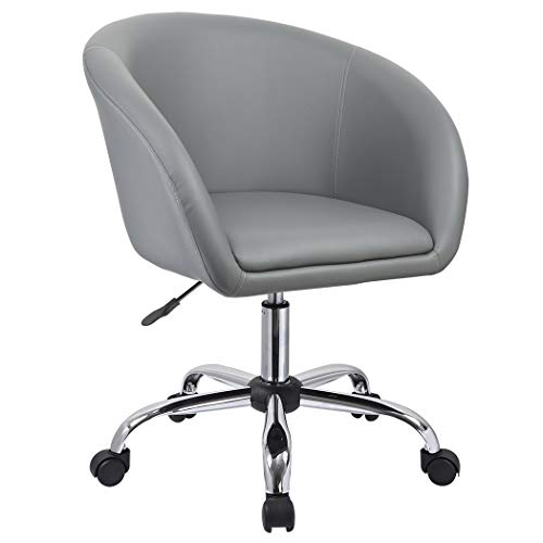 Duhome 440F Luxury PU Leather Contemporary Salon Stool with Wheels Home Office Chair Round Swivel Accent Chair Tufted Adjustable Lounge Pub Bar (Gray)