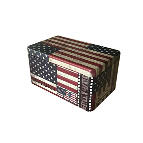 (DreamsEden Vintage American Flag Metal Tin Storage Box for Coins Candy Coffee Cookie - Ideal for Home Decoration (Small) )