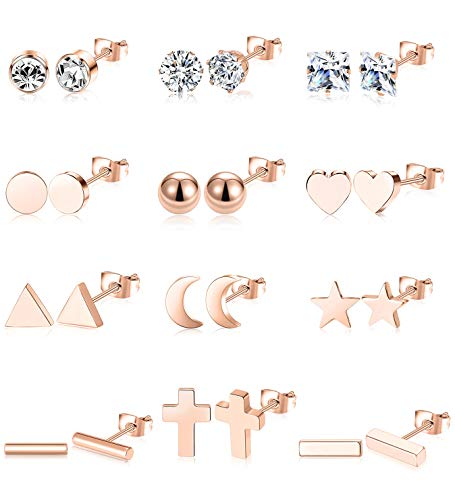 (Ofeiyaa 12 Pairs Stainless Steel Earrings Stud Geometric Earrings Set Star Moon Cross Ball Triangle Heart Clear CZ Stud for Womens Girls Silver Rose Gold Tone)