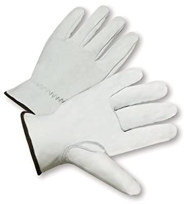 """West Chester 991K Leather Glove, Shirred Elastic Wrist Cuff, 9.5"""" Length, Large (Pack of 12 Pairs)"""