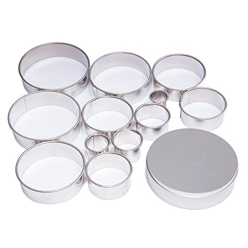 Tebery 12 Piece Plain Edge Biscuit Cutter Set, Heavy Duty Stainless Steel Round Pastry Cutter Set with Premium Tin Storage Box (Cookie Cutter Set 12 Piece)
