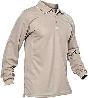 KEFITEVD Polo Hombres Tactical Army Camisa de Manga Larga Caminata al Aire Libre Senderismo Camiseta Caqui: Amazon.es: Deportes y aire libre
