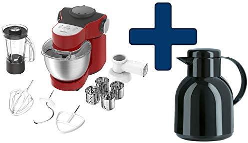 Krups KA 2535 Master Perfect Plus - Robot de cocina, incluye Emsa Samba - Jarra térmica, color negro y rojo: Amazon.es: Hogar