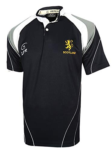 Scotland Navy Lion Rampant Embroidered Rugby Shirt (X-Small) -