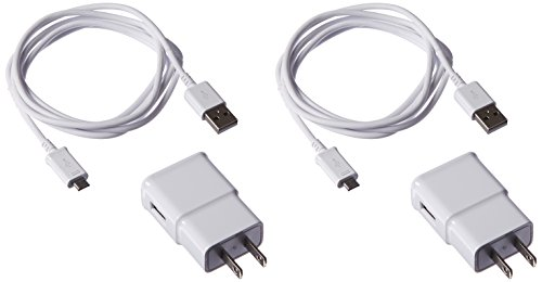 Samsung 2 Travel Charger Adapters with 2 OEM 5-Feet Micro USB Data Sync Cables for Galaxy S2/S3/S4/S5 - Non-Retail Packaging - White