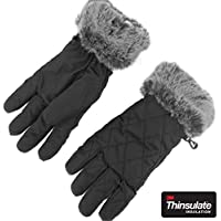accsa Winter Women's Ski Gloves with Fur Cuff, Windproof Snowboard Snow Riding 3M Thinsulate Warm Gloves