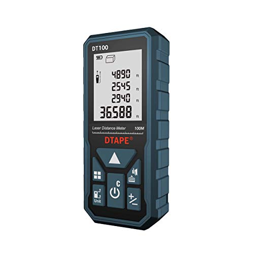 Laser Measure, DTAPE 328 Feet Digital Laser Tape Measure M/In/Ft Unit switching Backlit LCD and Pythagorean Mode, Measure Distance, Area and Volume - Carry Pouch and Battery Included DT100 (Best Laser Tape Measure)
