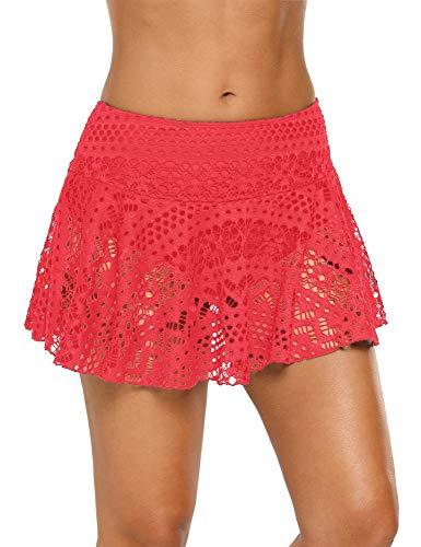 - ACKKIA Women's Lace Crochet Skirted Bikini Bottom with Brief Coral Short Swim Skirt Swimsuit Size XL 16 18
