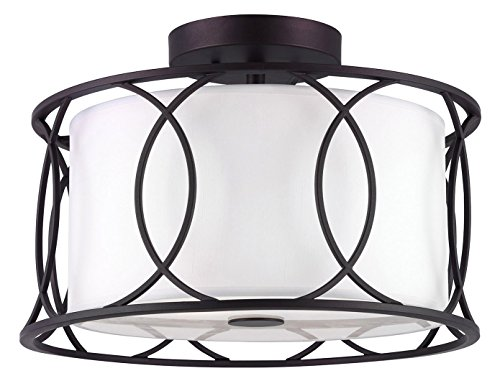 CANARM ISF320A02ORB Monica 2 Bulb Semi-Flush Mount with White Fabric Shade, Oil Rubbed Bronze