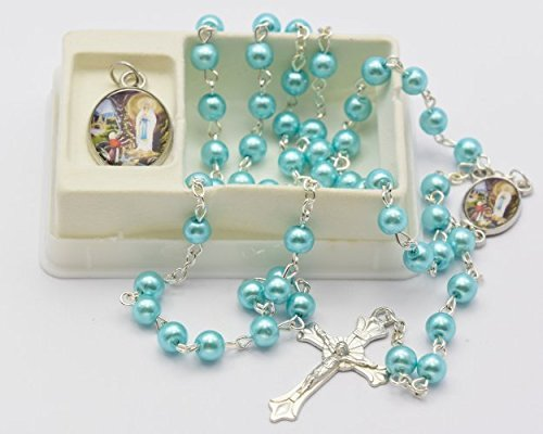 (Turquoise Lourdes Rosary Beads with Matching Lourdes Apparition Medal - Catholic Rosary Beads by Catholic Gift Shop Ltd )