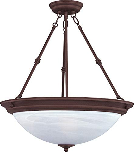 Maxim 5845MROI Essentials Marble Glass Bowl Pendant Ceiling Light, 2-Light 180 Watts, 24 H x 15 W, Oil-Rubbed Bronze