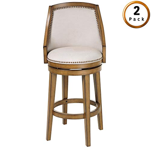 (Leggett & Platt Charleston Swivel Seat Counter Stool with Acorn Finished Wood Frame, Putty Upholstery and Antique Brass Nailhead Trim, 26-Inch Seat Height, 2-Pack)