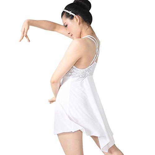 Illusione Bianco Costume Serbatoio Gonna Lirica Midee Tesoro Ballo Vestito Trianglar Sequines Top Di 7CYSFwqY