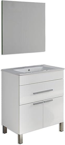 Platos de ducha y mamparas Conjunto Amira_PdM_ Mueble + encimera cerámica + Espejo Liso (Blanco Brillo, 80cm): Amazon.es: Juguetes y juegos