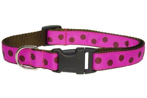 Sassy Dog Wear 18-28-Inch Fuchsia Polka Dot Dog Collar, Large