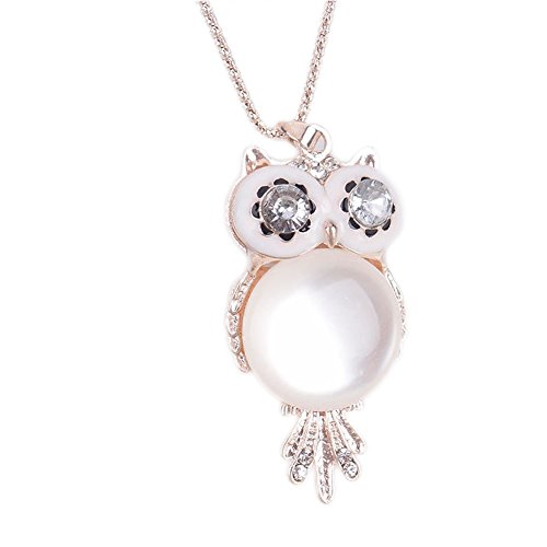Opal Costume Jewelry (Big Eye Owl Crystal Opal Long Sweater Chain Pendant Costume Necklace Jewelry for Christmas)