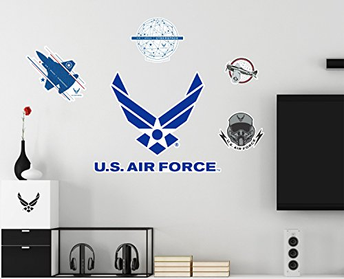 Repositionable Poster - United States Air Force Logo Fighter Jet Wings Repositionable Military 7 Wall Vinyl Decals Posters Décor