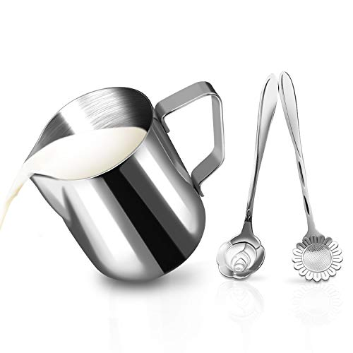 Espresso Coffee Frothing Pitcher - Milk Frothing Pitcher Jug - 12oz/350ML Stainless Steel Coffee Tools Cup - Suitable for Espresso, Latte Art and Frothing Milk, Attached Dessert Coffee Spoons