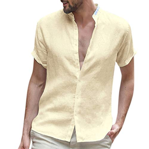 (MIS1950s Mens Short Sleeve Shirts Linen Cotton Button Down Fishing Tees Baggy Spread Collar Retro Baggy Summer Shirts)
