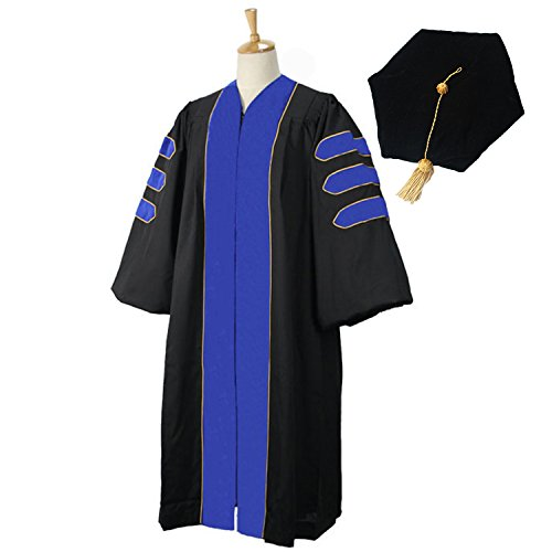GraduationMall Deluxe Doctoral Graduation Gown Tam Set for Faculty and Professor Phd Blue Velvet with Gold Piping 60(6'3