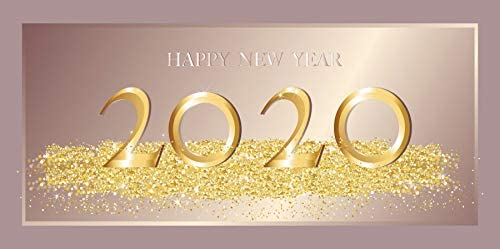 DORCEV 20x10ft Happy New Year 2020 Backdrop for New Year Eve Party Countdown Party Background Luxurious Golden Glittering 2020 New Year Carnival Party Family Gathering Banner Wallpaper
