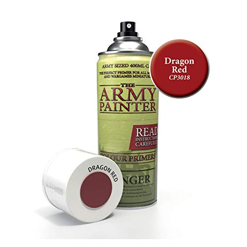 (The Army Painter Color Primer, Dragon Red, 400ml, 13.5oz - Acrylic Spray Undercoat for Miniature Painting)