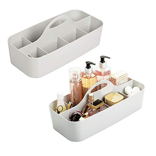 mDesign Plastic Portable Storage Organizer Caddy Tote - Divided Basket Bin, Handle for Bathroom, Dorm Room - Holds Hand Soap, Body Wash, Shampoo, Conditioner, Lotion - Extra Large, 2 Pack - Light Gray