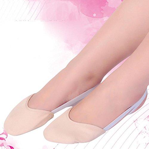 Gymnastik Lyrical Soft Hausschuhe spitze Wuayi Rhythmische Leder Half Balletttanzschuhe Sohle Khaki w8H64U